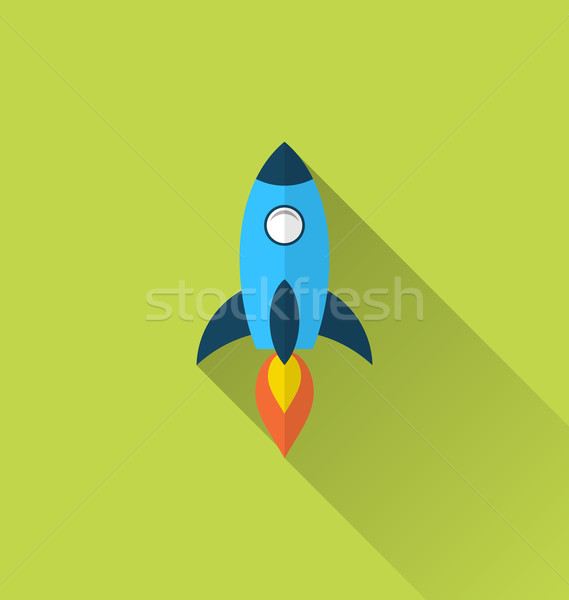 Stock photo: Flat icon of rocket with long shadow style