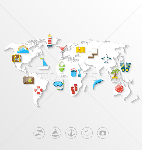 Map of World Travel Concept, Simple Colorful Flat Icons Stock photo © smeagorl