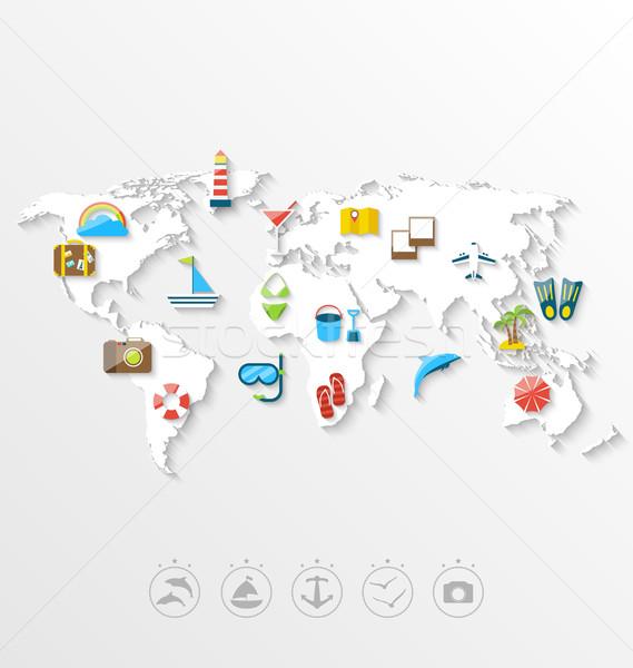 Térkép világutazás egyszerű színes ikonok illusztráció Stock fotó © smeagorl