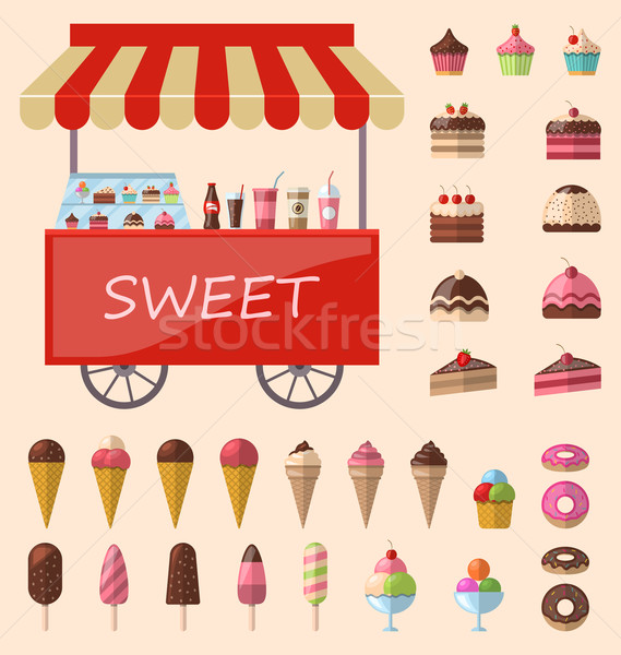 Delicious sweets and ice cream icons set Stock photo © smeagorl