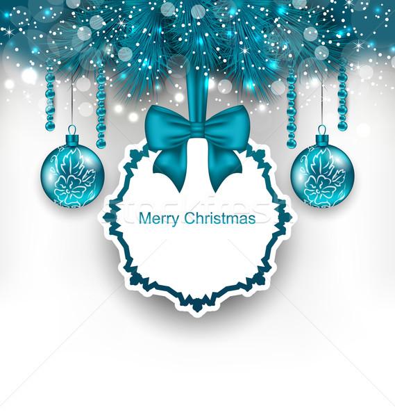 Christmas gift card szkła ilustracja drzewo Zdjęcia stock © smeagorl