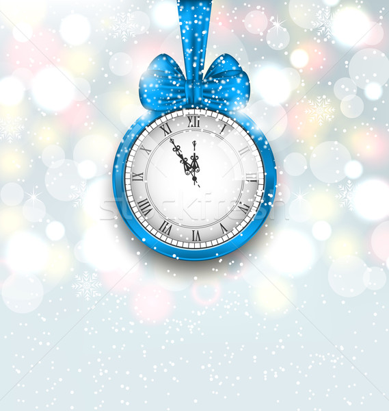 New Year Midnight Shimmering Background with Clock Stock photo © smeagorl