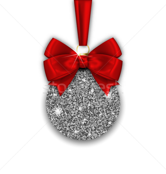 Glitter Christmas Ball and Red Bow Ribbon with Silver Surface Stock photo © smeagorl