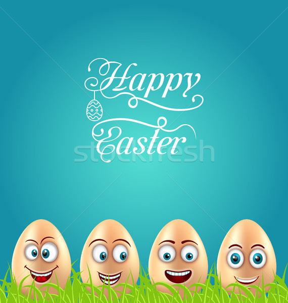 Humor Easter Card with Crazy Eggs on Grass Meadow Stock photo © smeagorl
