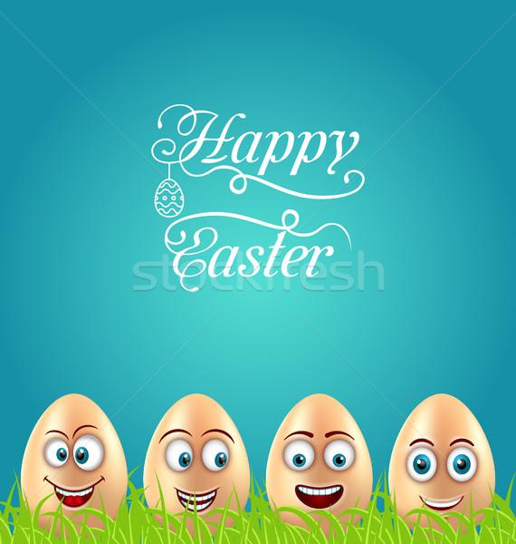 幽默 復活節 卡 瘋狂的 雞蛋 草 商業照片 © smeagorl