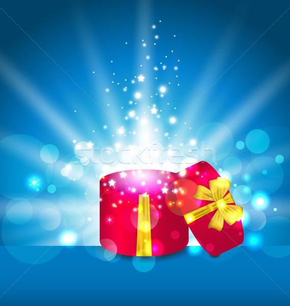 Abrir caixa de presente férias ilustração páscoa feliz Foto stock © smeagorl