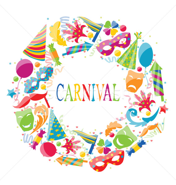 Festive round frame with carnival colorful icons Stock photo © smeagorl