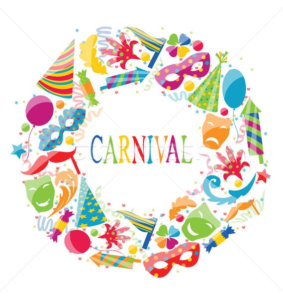 Feestelijk frame carnaval kleurrijk iconen illustratie Stockfoto © smeagorl