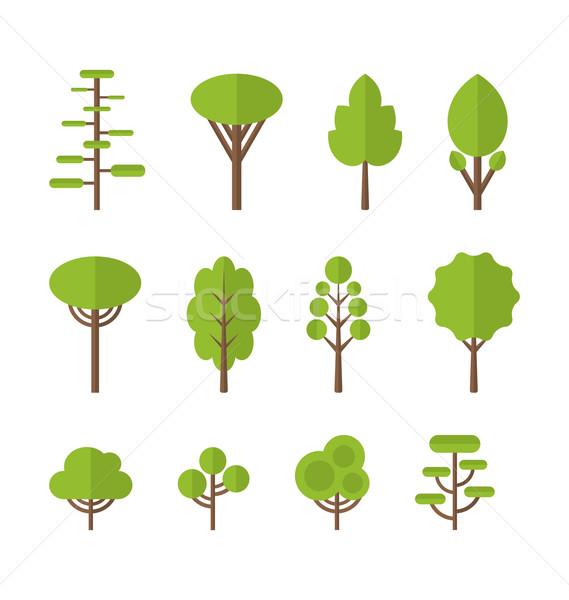 Coleção conjunto ícones árvore jardim arbusto Foto stock © smeagorl