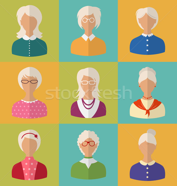 Old People of Faces of Women of Grey-headed Stock photo © smeagorl