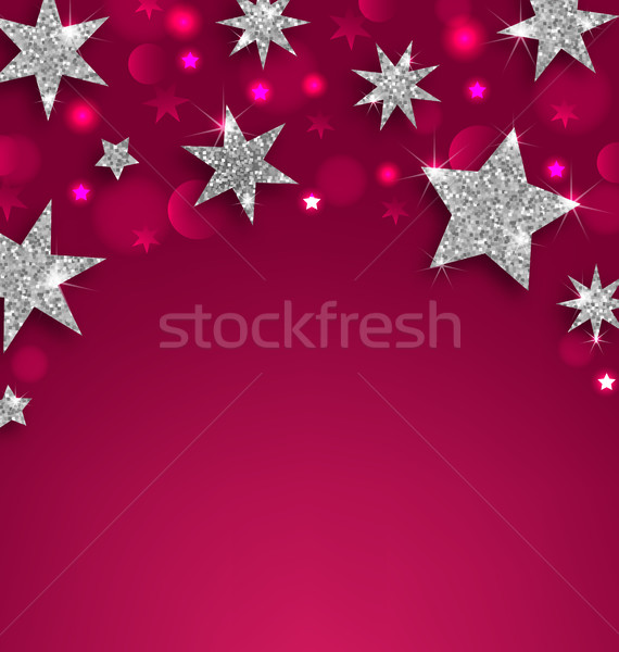 Starry Silver Banner for Happy Holidays Stock photo © smeagorl
