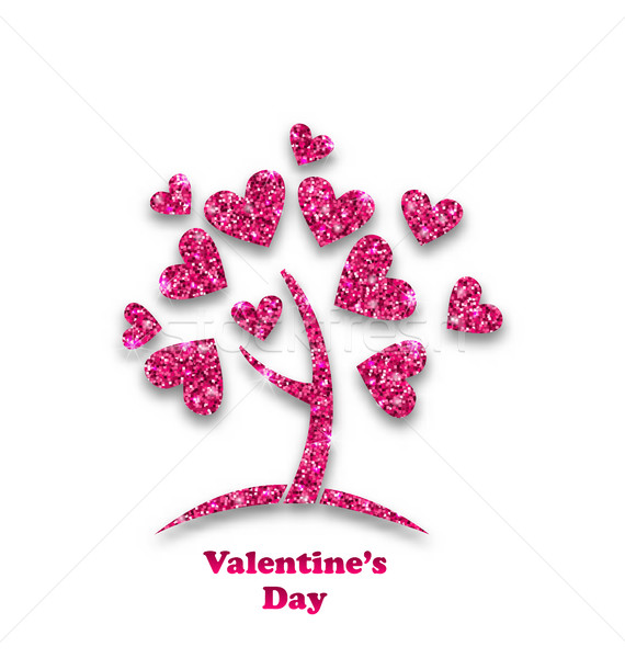 Concept of Tree with Shimmering Heart Leaves for Valentines Day Stock photo © smeagorl