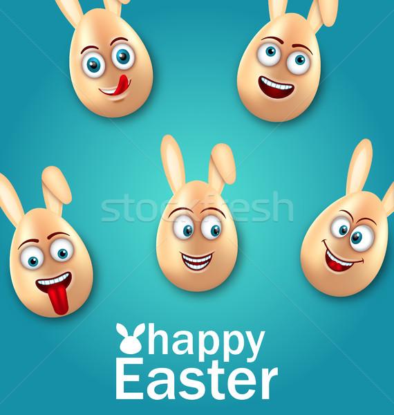 Humor húsvét kártya derűs tojások fülek Stock fotó © smeagorl