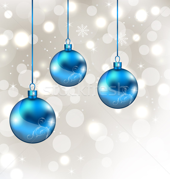 Background with snowflakes and Christmas balls Stock photo © smeagorl