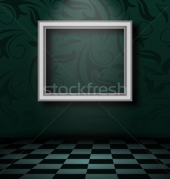 Fotolijstje donkere lege interieur illustratie muur Stockfoto © smeagorl