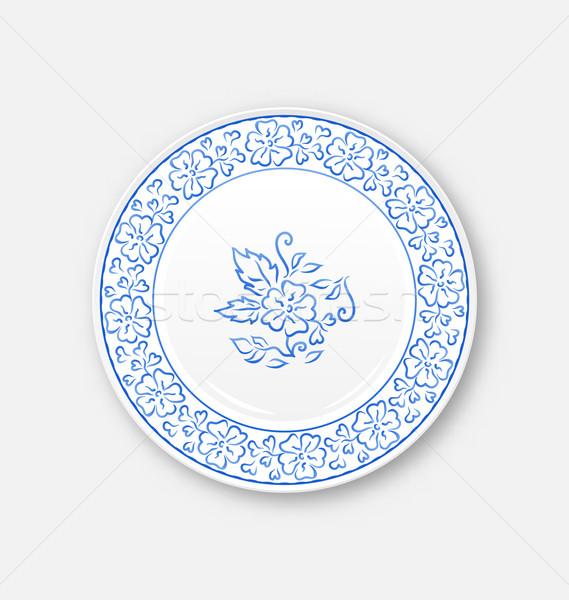 Stock fotó: Fehér · tányér · kézzel · rajzolt · virágmintás · dísz · illusztráció