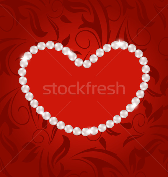 Floral postcard with heart made in pearls for Valentine Day, cop Stock photo © smeagorl