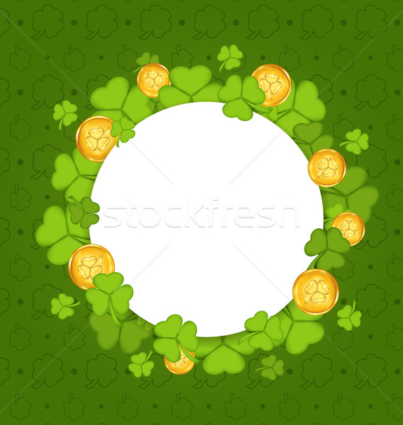 Celebration card with shamrocks and golden coins for St. Patrick Stock photo © smeagorl