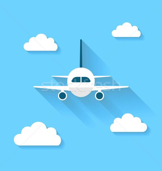 Photo stock: Simple · icônes · avion · nuages · longtemps · ombres