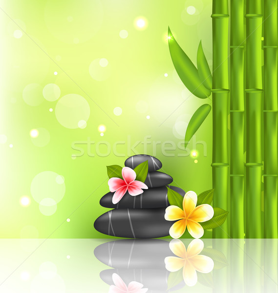 Meditative oriental background with frangipani, bamboo and heap  Stock photo © smeagorl