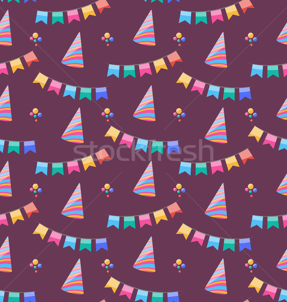 Stock photo: Seamless Holiday Pattern with Colorful Buntings and Party Hats