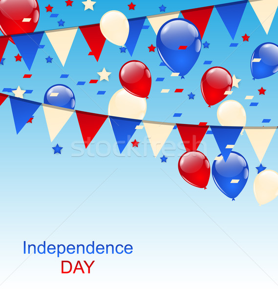 American Greeting Card with Balloons and Bunting Flags Stock photo © smeagorl