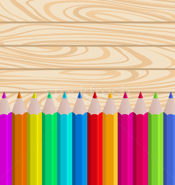 Palette Pencils on Wooden Background Stock photo © smeagorl