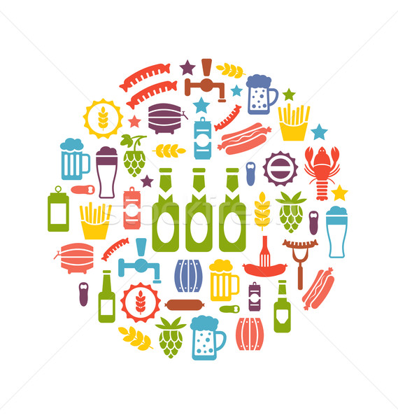 Set Colorful Icons of Beers and Snacks Stock photo © smeagorl