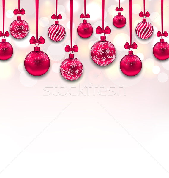 Christmas Pink Glassy Balls with Bow Ribbon Stock photo © smeagorl