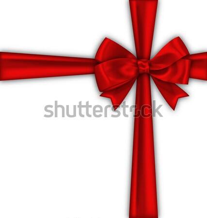 Rojo raso cinta arco aislado ilustración Foto stock © smeagorl