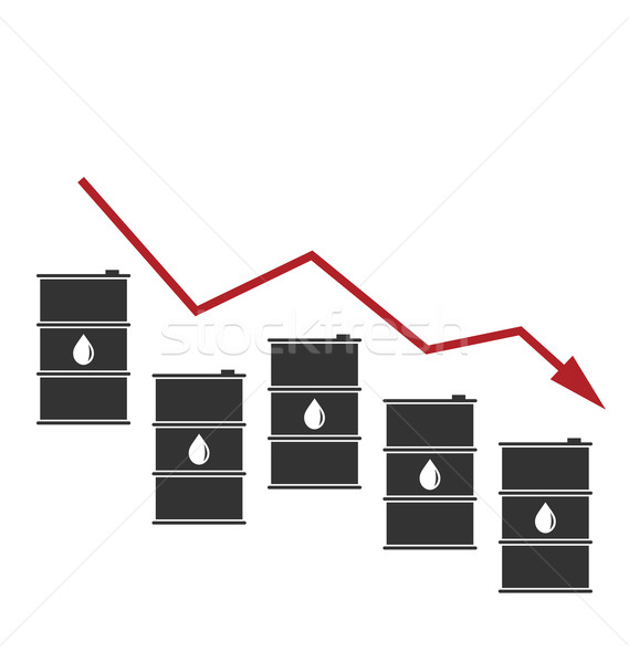 Concept of Oil Prices Fall, Black Barrels and Graph Down Stock photo © smeagorl