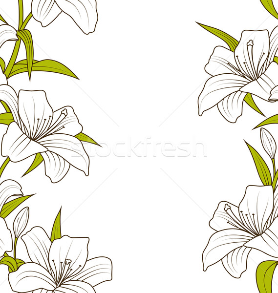 Cute Ornamental Seamless Texture with Lily Flowers Stock photo © smeagorl