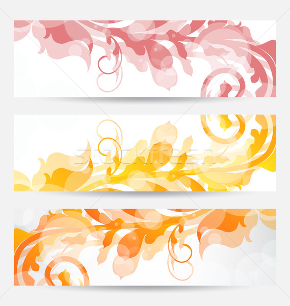 Set floral templates with changing autumnal colors Stock photo © smeagorl
