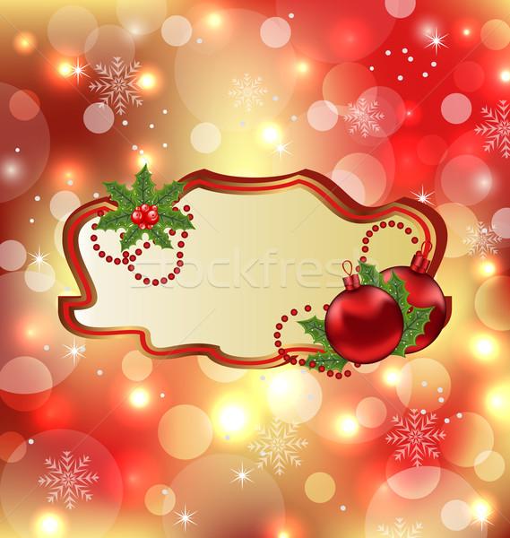 Greeting elegant card with mistletoe and Christmas bal Stock photo © smeagorl
