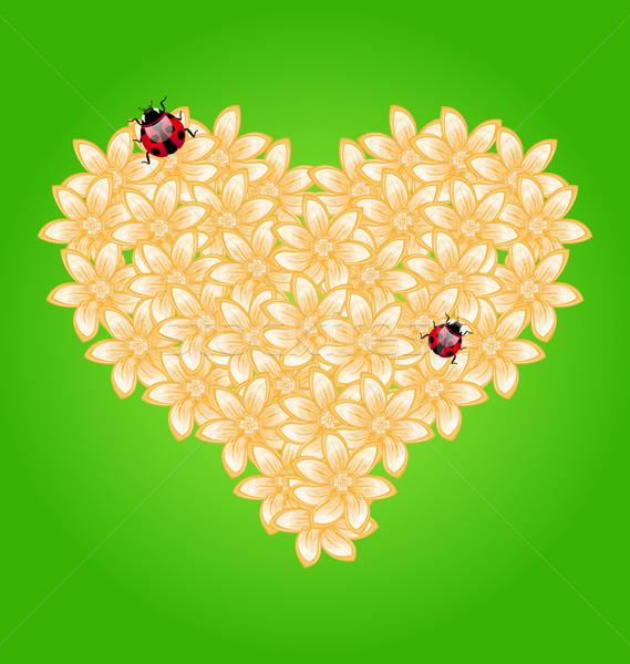 Romântico coração flores joaninha ilustração flor Foto stock © smeagorl