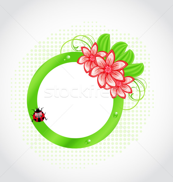 Cute spring label with flower, leaves, lady-beetle Stock photo © smeagorl