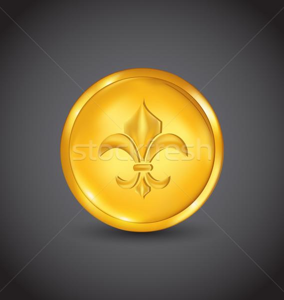 Golden coin with fleur de lis on black background Stock photo © smeagorl