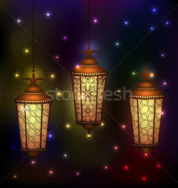 Set Arabic lamps for holy month of muslim community Ramadan Kare Stock photo © smeagorl
