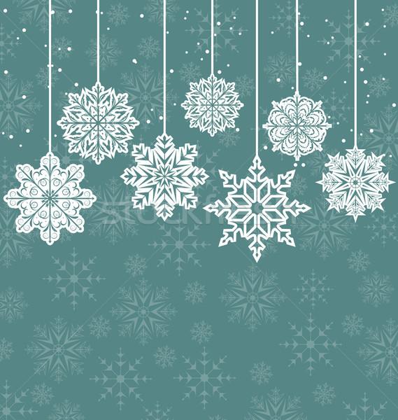 Noël variation flocons de neige illustration résumé bleu Photo stock © smeagorl