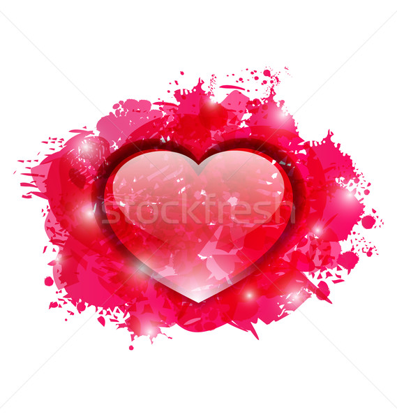 Beautiful glassy heart on grunge pink blobs for Valentines day Stock photo © smeagorl