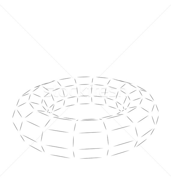 Stock fotó: Drótváz · 3D · tórusz · alkotóelem · izolált · fehér