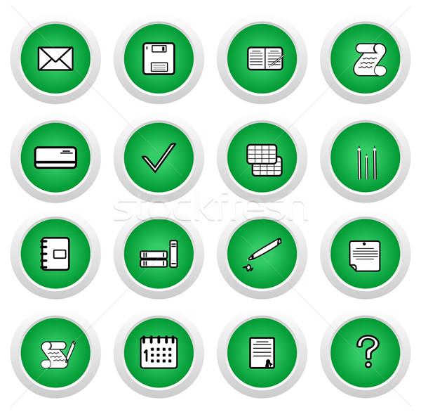 Verde adesivo icona 16 vettore ufficio Foto d'archivio © smeagorl