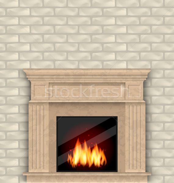 Realistic Marble Fireplace with Fire in Interior, Brick Wall Stock photo © smeagorl