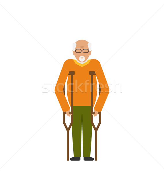 Older Man with Crutches. Disability, Elderly, Grandfather Stock photo © smeagorl