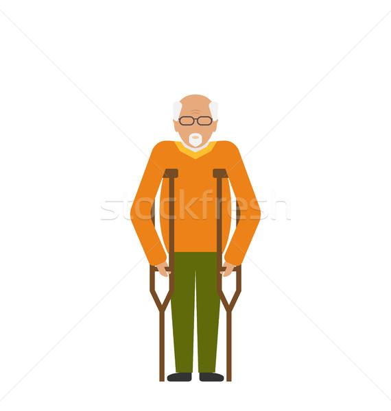 Idősebb férfi mankók fogyatékosság idős nagyapa Stock fotó © smeagorl