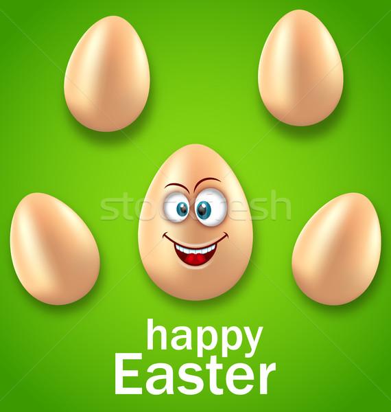 Frohe Ostern Karte crazy Ei Humor Einladung Stock foto © smeagorl