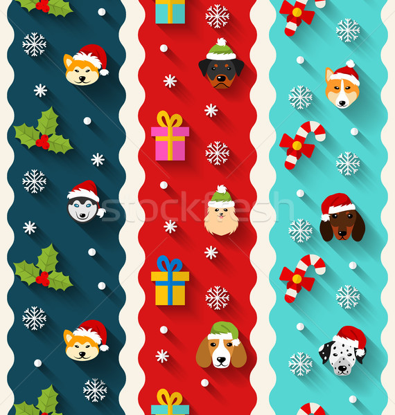 Set Seamless Vertical Wallpaper with Heads Dogs and Traditional Elements Stock photo © smeagorl