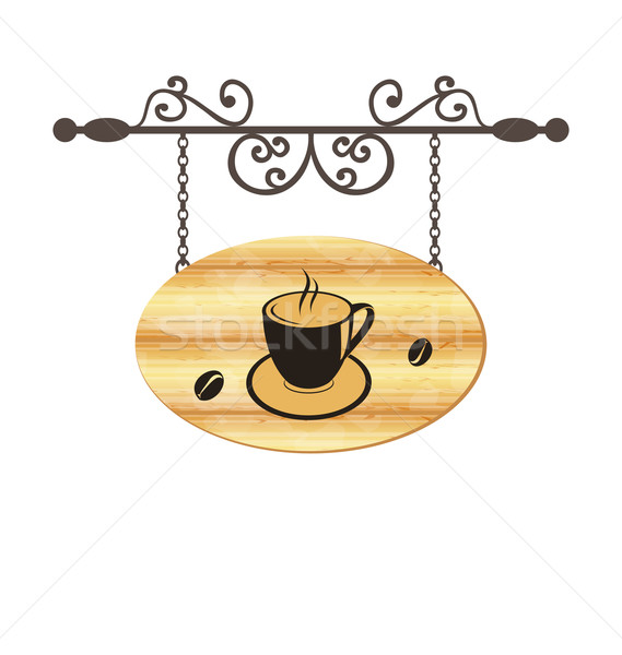 Wooden forging sign with coffee cup Stock photo © smeagorl