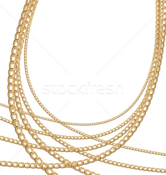 Stok fotoğraf: Ayarlamak · takı · altın · zincirleri · farklı · boyut