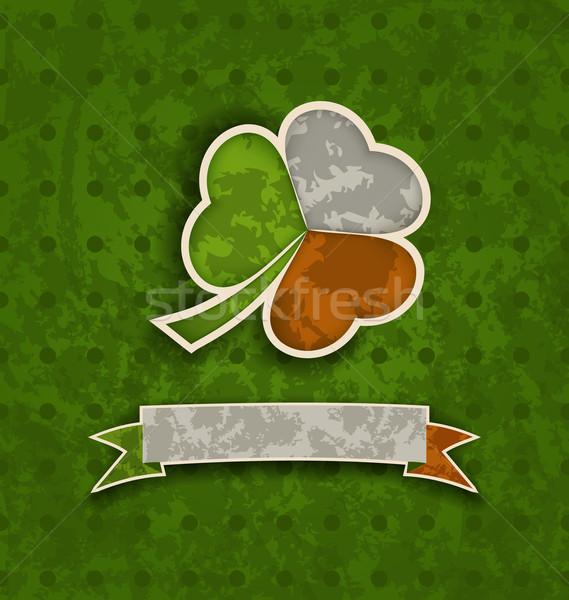 Vacaciones vintage trébol cinta irlandés bandera Foto stock © smeagorl